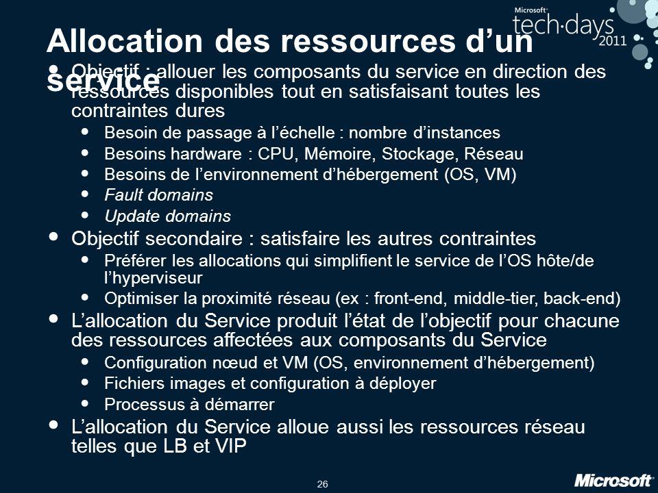 26 Allocation des ressources d'un service Objectif : allouer les composants du service en direction des ressources disponibles tout en satisfaisant to