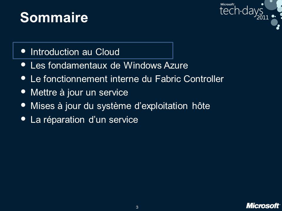 3 Sommaire Introduction au Cloud Les fondamentaux de Windows Azure Le fonctionnement interne du Fabric Controller Mettre à jour un service Mises à jou