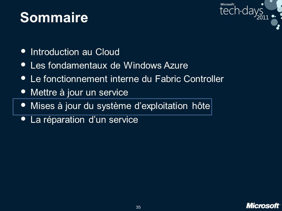 35 Sommaire Introduction au Cloud Les fondamentaux de Windows Azure Le fonctionnement interne du Fabric Controller Mettre à jour un service Mises à jo