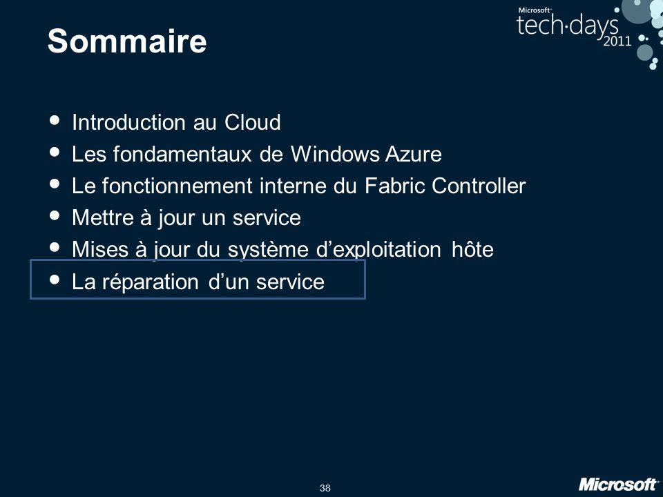 38 Sommaire Introduction au Cloud Les fondamentaux de Windows Azure Le fonctionnement interne du Fabric Controller Mettre à jour un service Mises à jo