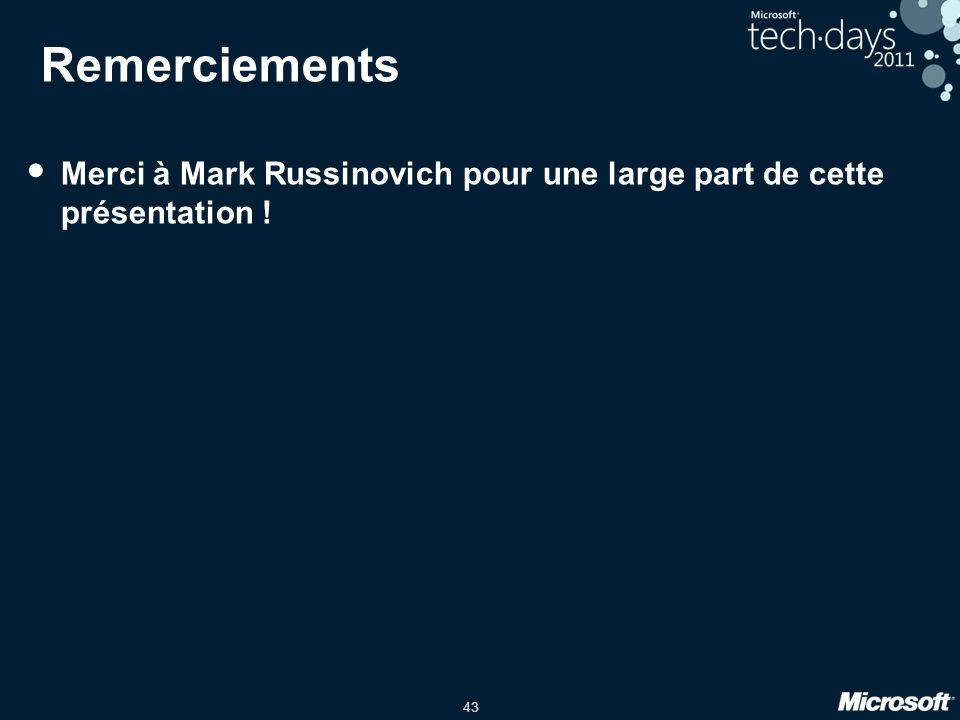 43 Remerciements Merci à Mark Russinovich pour une large part de cette présentation !