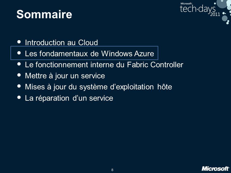 9 Fonctionnalités de base de Windows Azure Configuration et déploiement : Gestion de certificats (par exemple SSL) Points de terminaison (endpoints) publics à équilibrage de charge Configuration et découverte des endpoints internes Opérations : Gestion de l'accès aux bureaux distants Mises à jour automatisées des systèmes d'exploitation et des runtimes Mises à jour coordonnées Disponibilité : Surveillance de la santé de l'environnement Disponibilité garantie par SLA