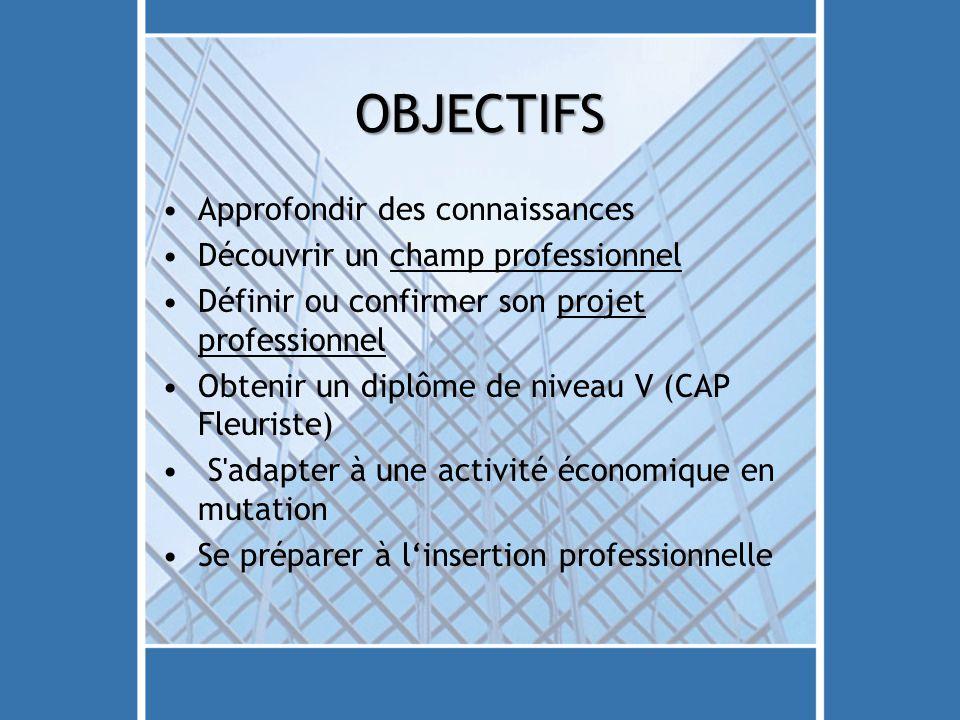 OBJECTIFS Approfondir des connaissances Découvrir un champ professionnel Définir ou confirmer son projet professionnel Obtenir un diplôme de niveau V
