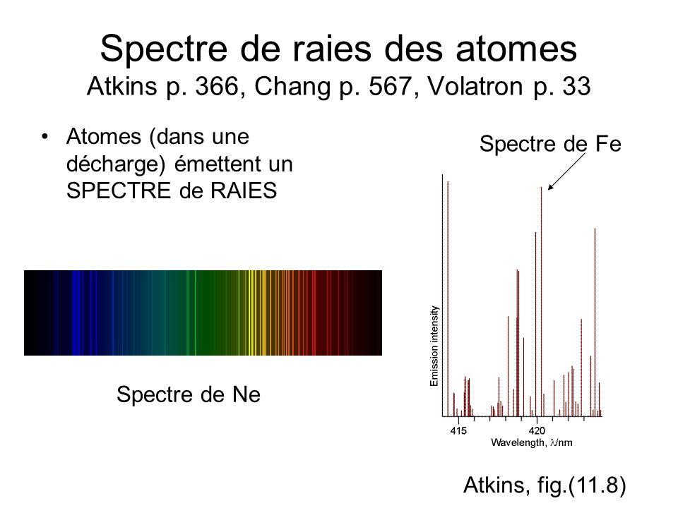 Spectre de raies des atomes Atkins p. 366, Chang p. 567, Volatron p. 33 Atomes (dans une décharge) émettent un SPECTRE de RAIES Spectre de Fe Spectre