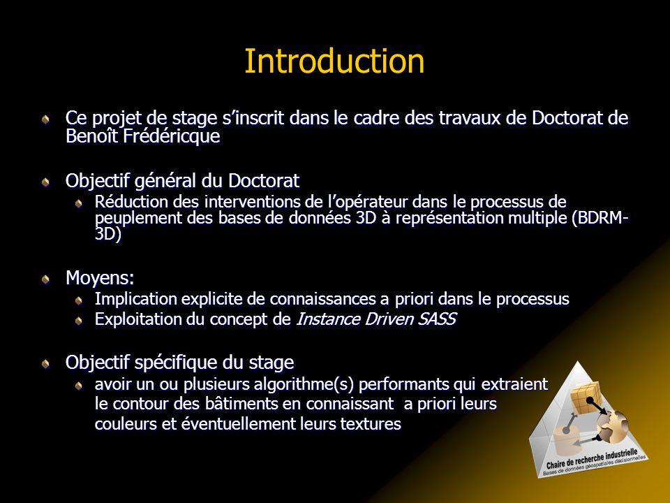 Introduction Ce projet de stage s'inscrit dans le cadre des travaux de Doctorat de Benoît Frédéricque Objectif général du Doctorat Réduction des inter