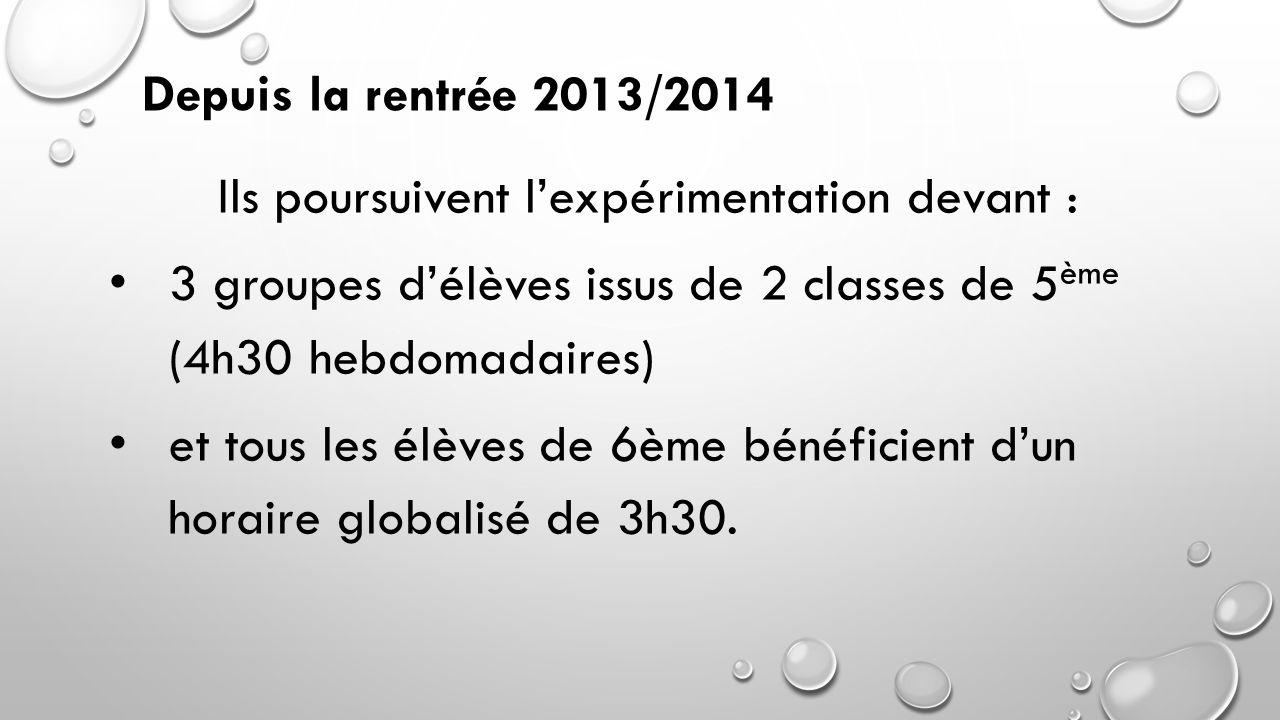 Ils poursuivent l'expérimentation devant : 3 groupes d'élèves issus de 2 classes de 5 ème (4h30 hebdomadaires) et tous les élèves de 6ème bénéficient d'un horaire globalisé de 3h30.