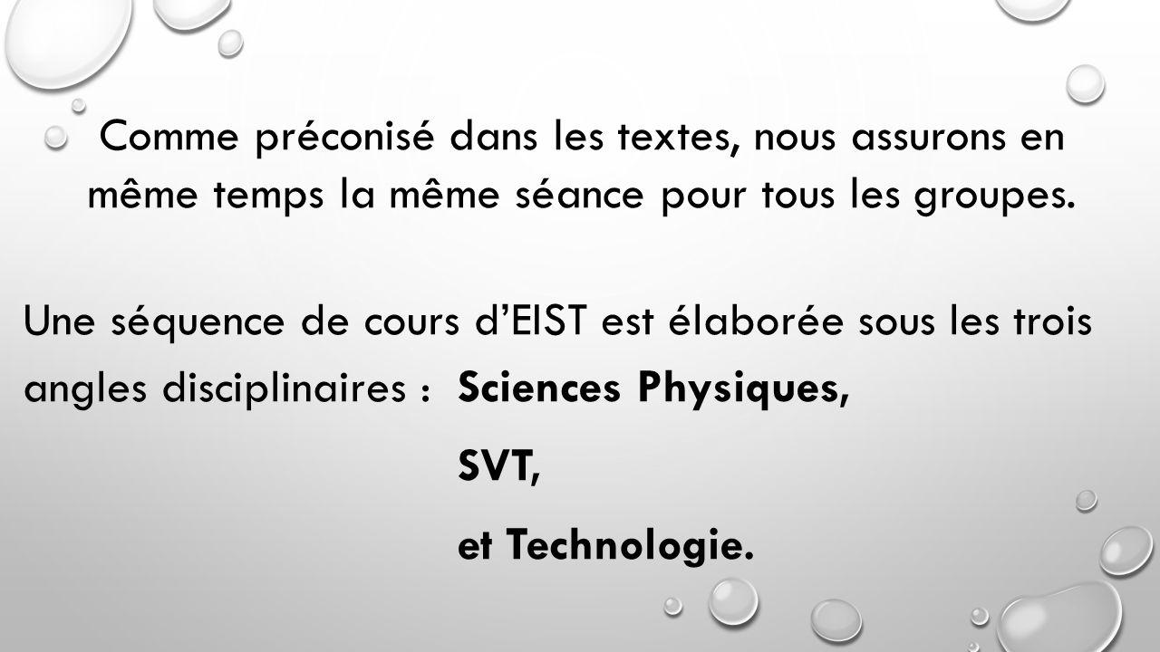 Une séquence de cours d'EIST est élaborée sous les trois angles disciplinaires :Sciences Physiques, SVT, et Technologie. Comme préconisé dans les text