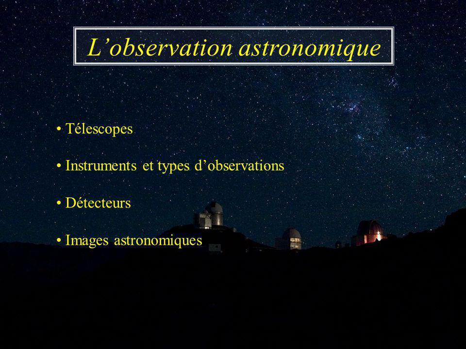 Télescopes Instruments et types d'observations Détecteurs Images astronomiques L'observation astronomique