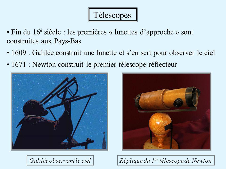 Types de télescopes Réfracteur (lunette astronomique) : − basé sur des lentilles → taille limitée à ~1 m aberrations chromatiques Réflecteur (télescope) : − basé sur des miroirs → pas de verre à traverser mais obstruction partielle Télescopes - 2