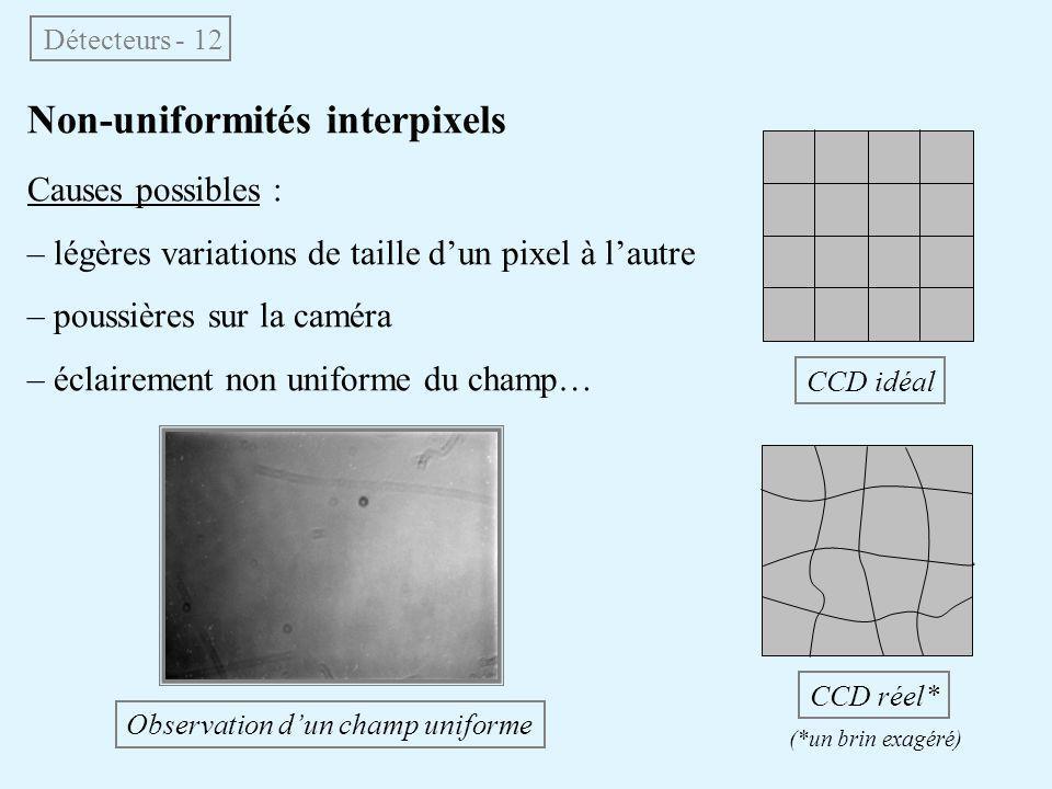 Non-uniformités interpixels Causes possibles : – légères variations de taille d'un pixel à l'autre – poussières sur la caméra – éclairement non unifor