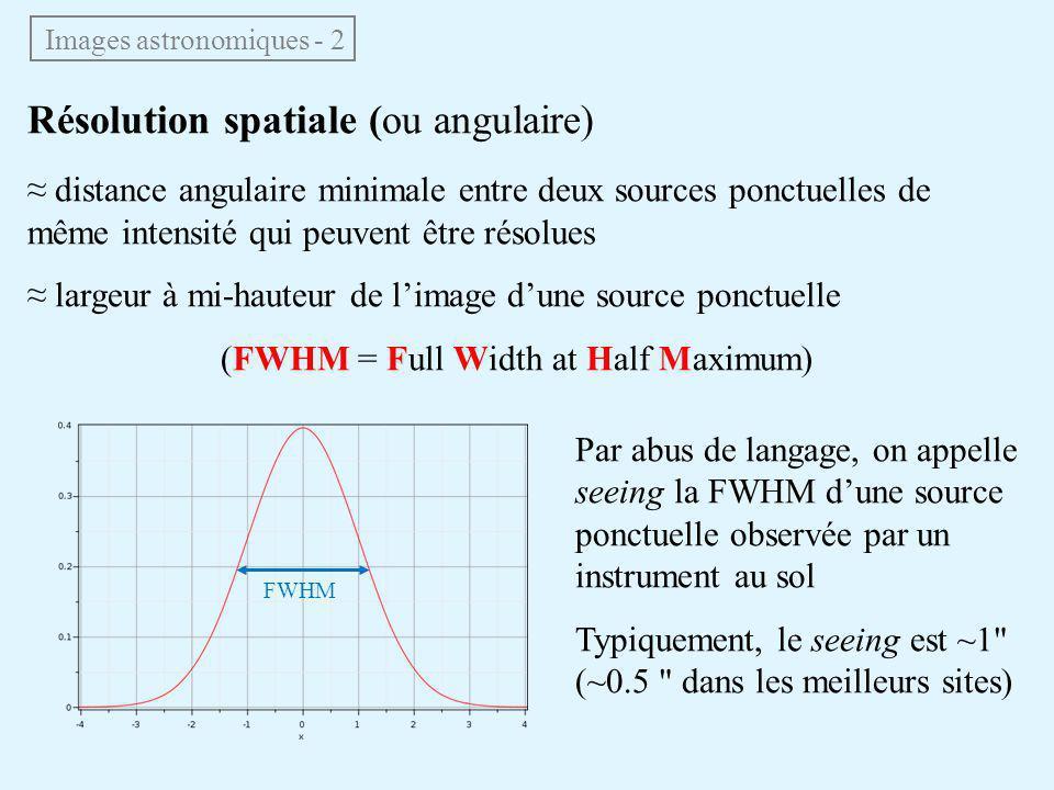 Résolution spatiale (ou angulaire) ≈ distance angulaire minimale entre deux sources ponctuelles de même intensité qui peuvent être résolues ≈ largeur