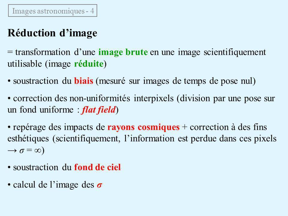 Réduction d'image = transformation d'une image brute en une image scientifiquement utilisable (image réduite) soustraction du biais (mesuré sur images