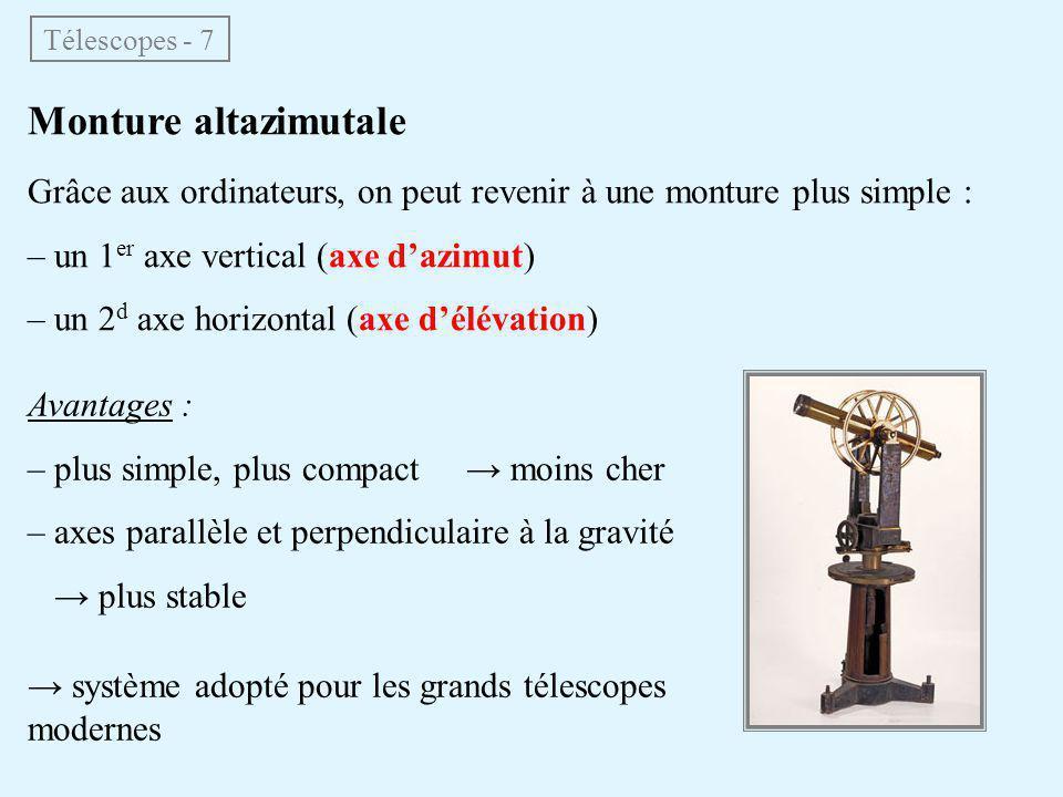 Monture altazimutale Grâce aux ordinateurs, on peut revenir à une monture plus simple : – un 1 er axe vertical (axe d'azimut) – un 2 d axe horizontal