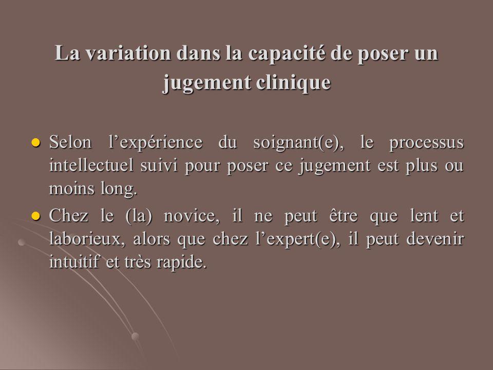 La variation dans la capacité de poser un jugement clinique Selon l'expérience du soignant(e), le processus intellectuel suivi pour poser ce jugement