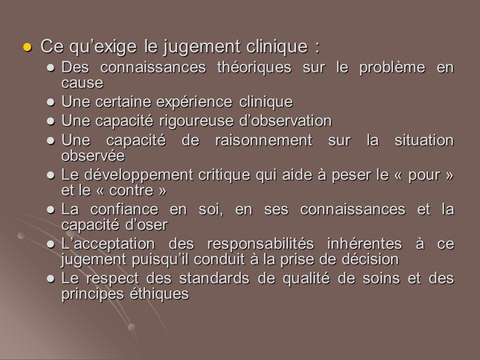 Conclusion Le jugement clinique permet une interprétation logique de ce qui se passe, permet de prendre les décisions qui s'imposent dans la situation et d'en apprécier la pertinence.