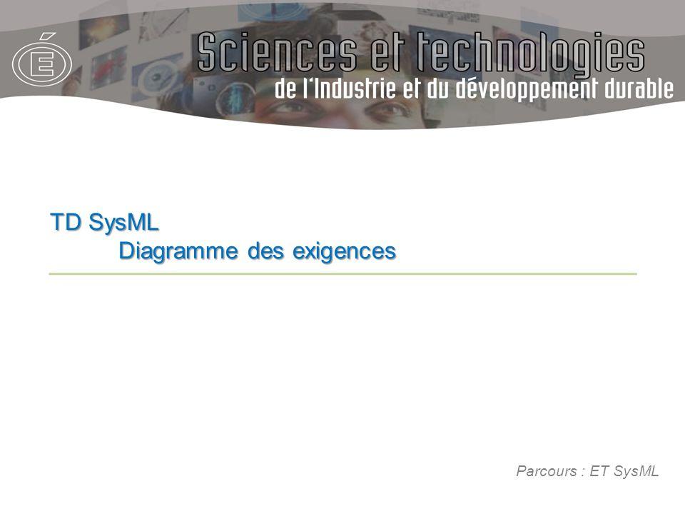 Parcours : ET SysML TD SysML Diagramme des exigences