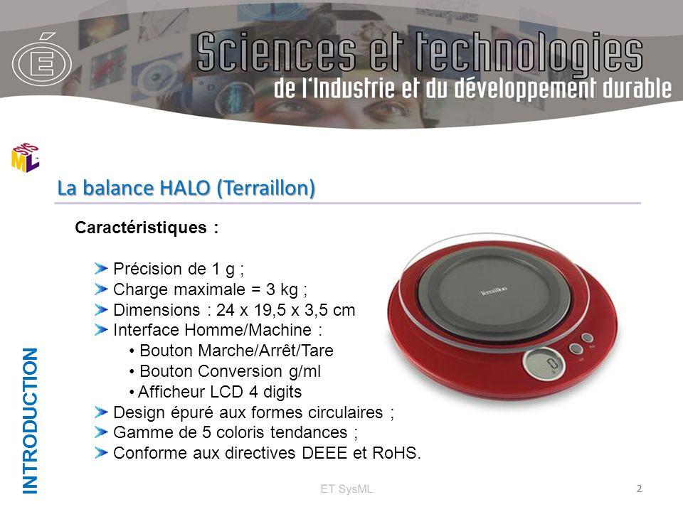 INTRODUCTION 2 La balance HALO (Terraillon) ET SysML Caractéristiques : Précision de 1 g ; Charge maximale = 3 kg ; Dimensions : 24 x 19,5 x 3,5 cm In