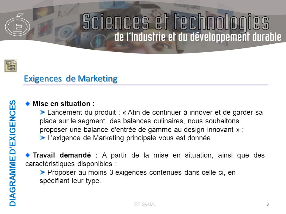 DIAGRAMME D'EXIGENCES ET SysML 4 Exigences de Marketing