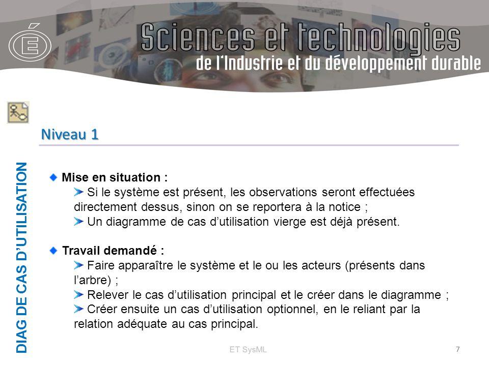 DIAG DE CAS D'UTILISATION ET SysML 7 Niveau 1 Mise en situation : Si le système est présent, les observations seront effectuées directement dessus, si