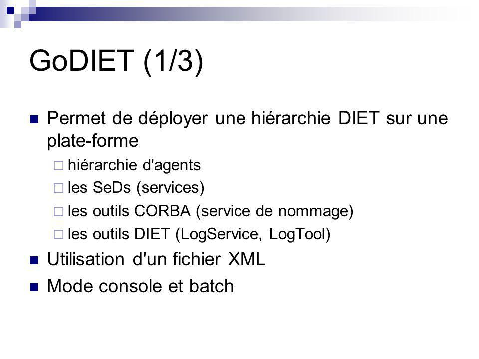 GoDIET (1/3) Permet de déployer une hiérarchie DIET sur une plate-forme  hiérarchie d agents  les SeDs (services)  les outils CORBA (service de nommage)  les outils DIET (LogService, LogTool) Utilisation d un fichier XML Mode console et batch