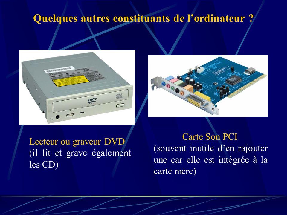 Le disque dur est le composant qui contient toutes vos données… Il est relié à la carte mère par le biais d'une connexion IDE ou SATA. Sa capacité est