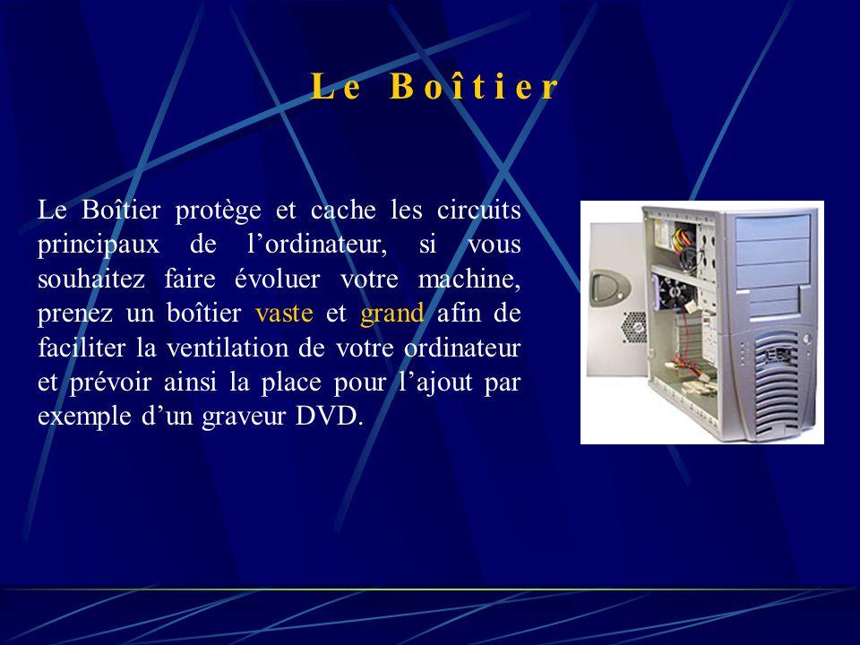 Le Boîtier protège et cache les circuits principaux de l'ordinateur, si vous souhaitez faire évoluer votre machine, prenez un boîtier vaste et grand afin de faciliter la ventilation de votre ordinateur et prévoir ainsi la place pour l'ajout par exemple d'un graveur DVD.