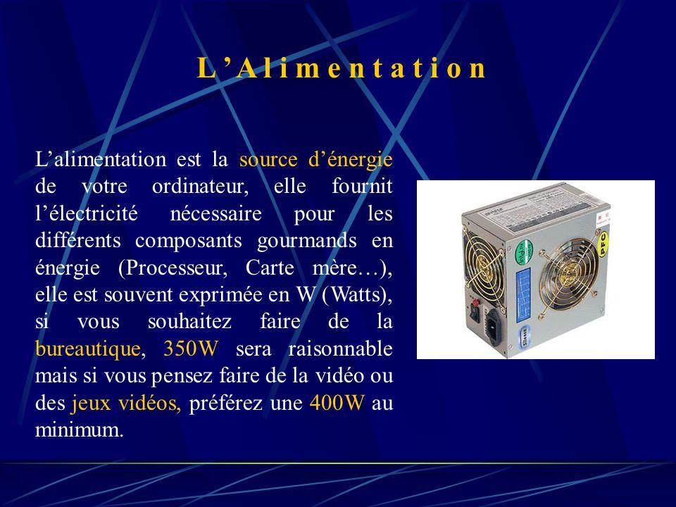 L'alimentation est la source d'énergie de votre ordinateur, elle fournit l'électricité nécessaire pour les différents composants gourmands en énergie (Processeur, Carte mère…), elle est souvent exprimée en W (Watts), si vous souhaitez faire de la bureautique, 350W sera raisonnable mais si vous pensez faire de la vidéo ou des jeux vidéos, préférez une 400W au minimum.