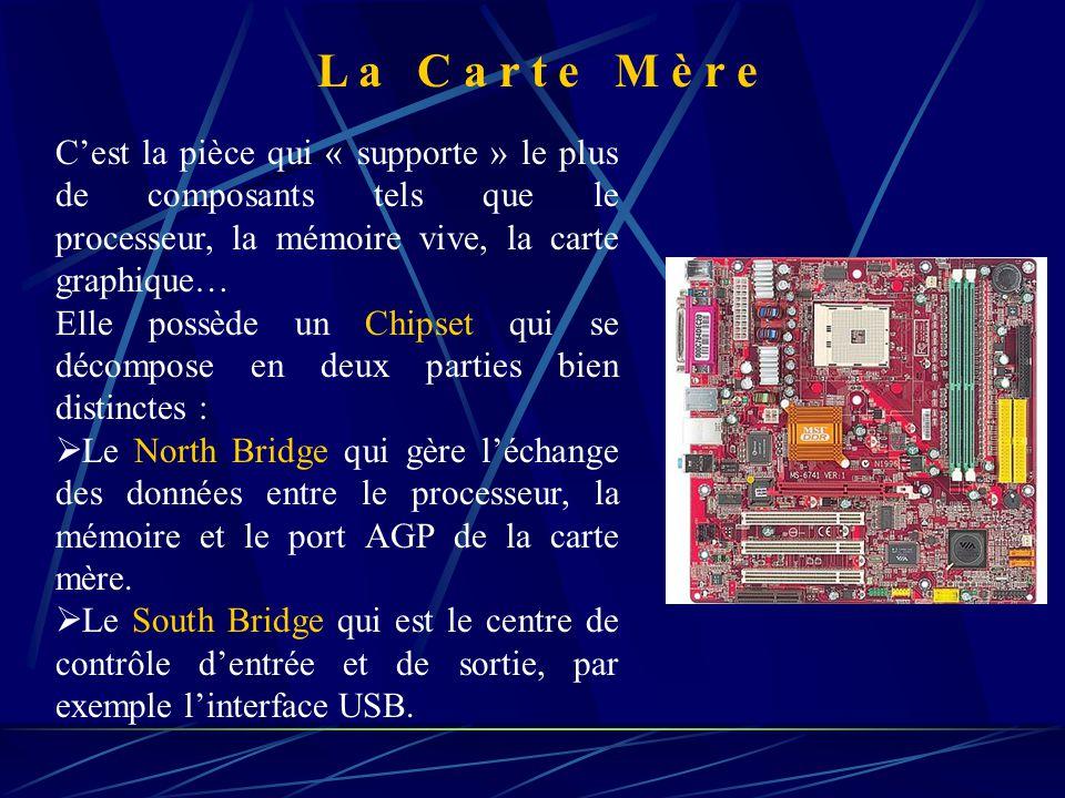 C'est la pièce qui « supporte » le plus de composants tels que le processeur, la mémoire vive, la carte graphique… Elle possède un Chipset qui se décompose en deux parties bien distinctes :  Le North Bridge qui gère l'échange des données entre le processeur, la mémoire et le port AGP de la carte mère.