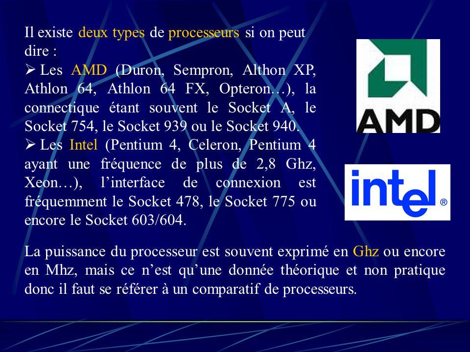 Il existe deux types de processeurs si on peut dire :  Les AMD (Duron, Sempron, Althon XP, Athlon 64, Athlon 64 FX, Opteron…), la connectique étant souvent le Socket A, le Socket 754, le Socket 939 ou le Socket 940.