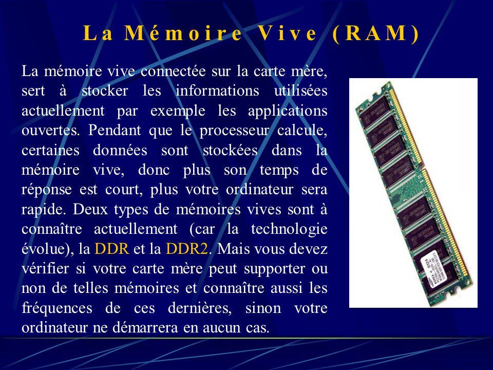 La mémoire vive connectée sur la carte mère, sert à stocker les informations utilisées actuellement par exemple les applications ouvertes.