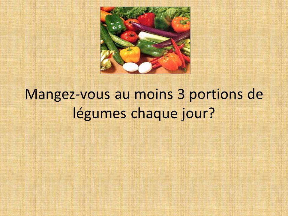Mangez-vous au moins 3 portions de légumes chaque jour?