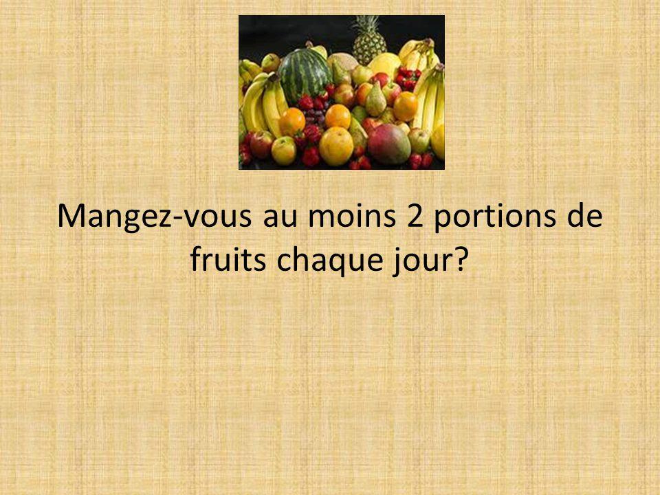 Mangez-vous au moins 2 portions de fruits chaque jour
