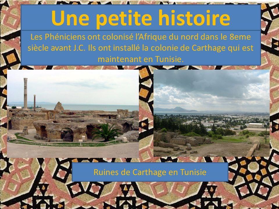 Une petite histoire Les Phéniciens ont colonisé l'Afrique du nord dans le 8eme siècle avant J.C. Ils ont installé la colonie de Carthage qui est maint