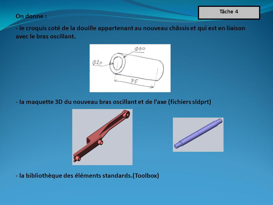 On donne : - le croquis coté de la douille appartenant au nouveau châssis et qui est en liaison avec le bras oscillant.