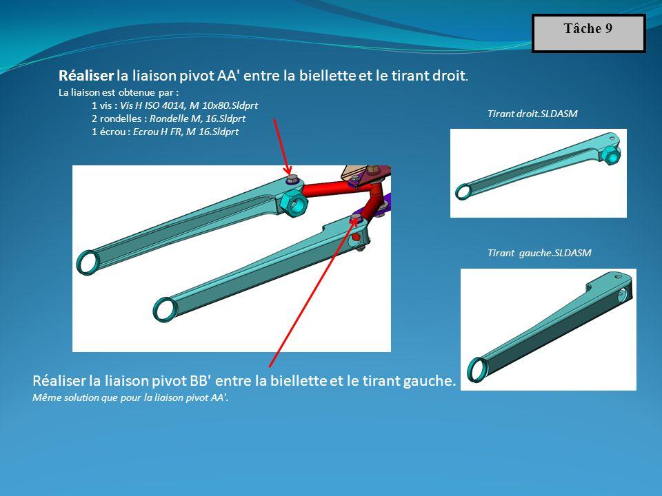 Tâche 9 Réaliser la liaison pivot BB entre la biellette et le tirant gauche.