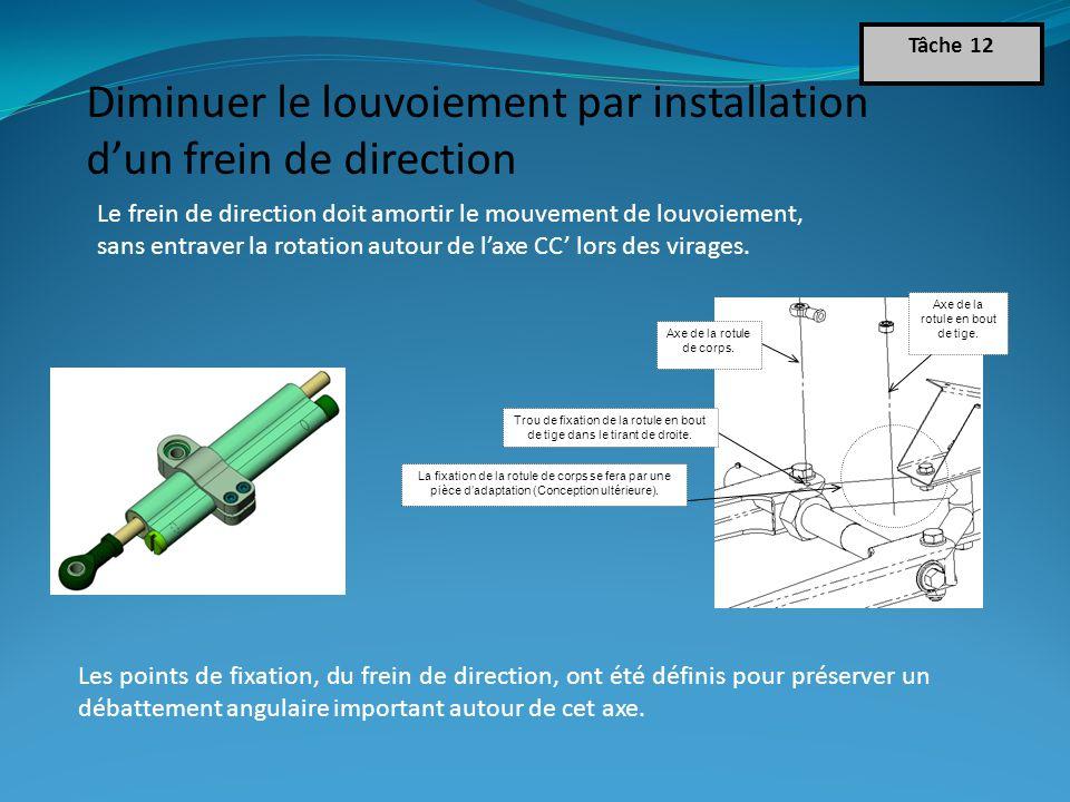Diminuer le louvoiement par installation d'un frein de direction Tâche 12 Le frein de direction doit amortir le mouvement de louvoiement, sans entraver la rotation autour de l'axe CC' lors des virages.
