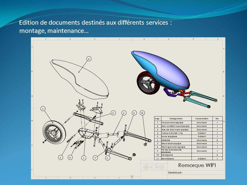 Edition de documents destinés aux différents services : montage, maintenance…