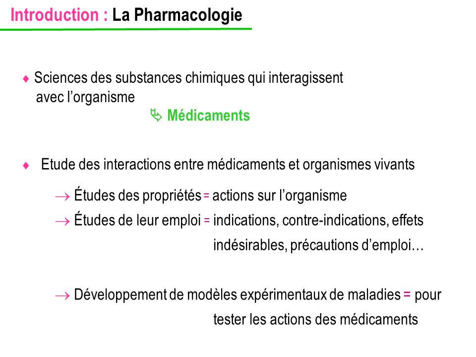  Etude des interactions entre médicaments et organismes vivants  Médicaments  Sciences des substances chimiques qui interagissent avec l'organisme