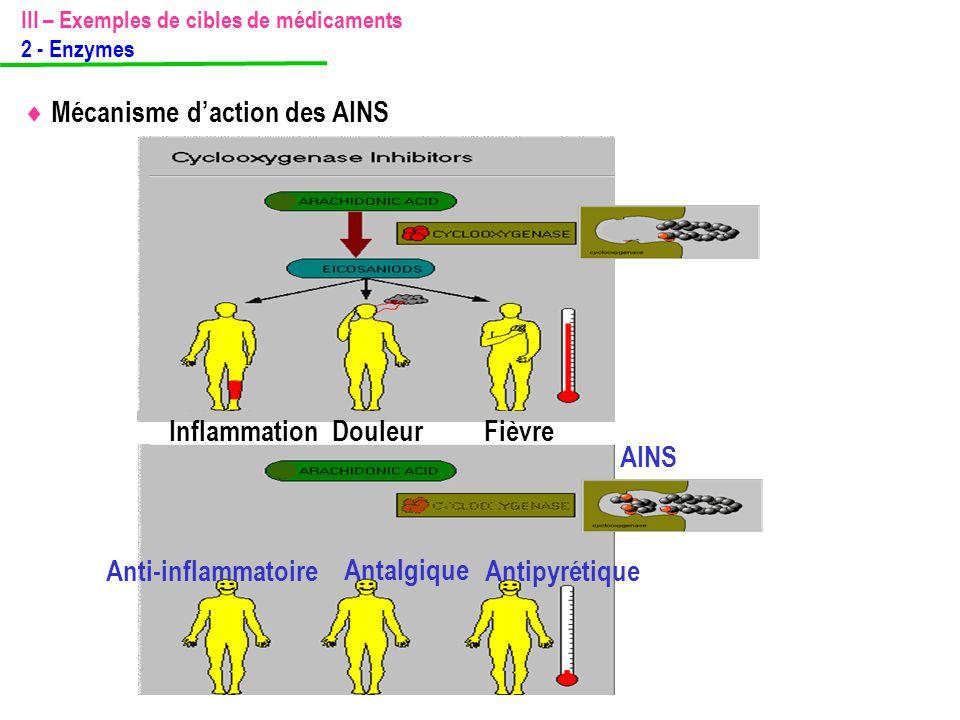  Mécanisme d'action des AINS III – Exemples de cibles de médicaments 2 - Enzymes InflammationDouleur Fièvre Anti-inflammatoire Antalgique Antipyrétiq