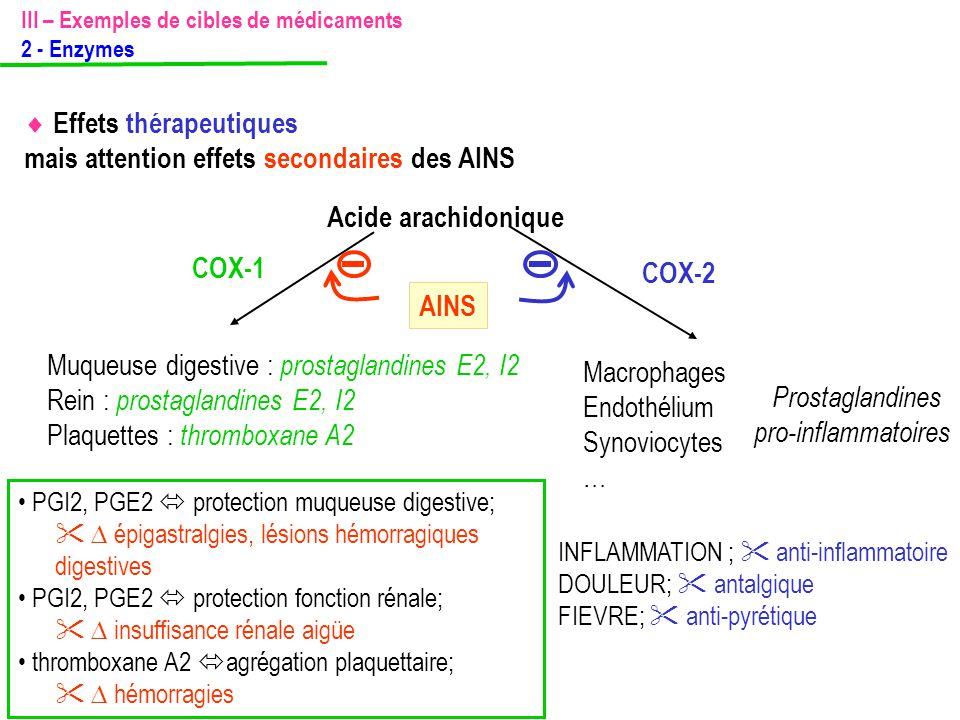 III – Exemples de cibles de médicaments 2 - Enzymes Muqueuse digestive : prostaglandines E2, I2 Rein : prostaglandines E2, I2 Plaquettes : thromboxane