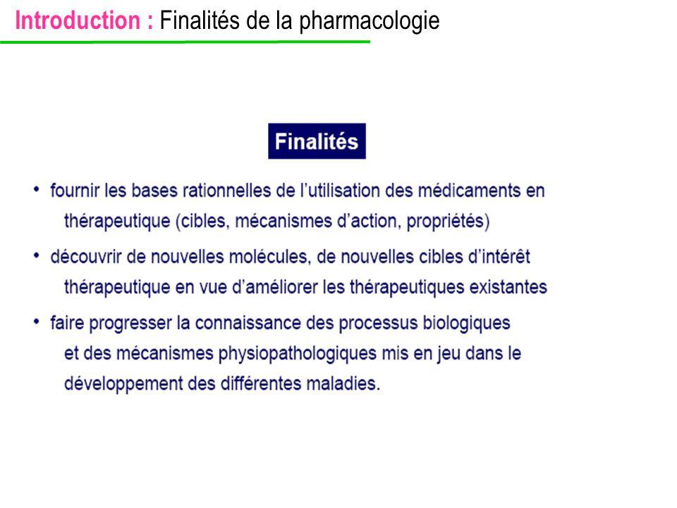 Introduction : Finalités de la pharmacologie