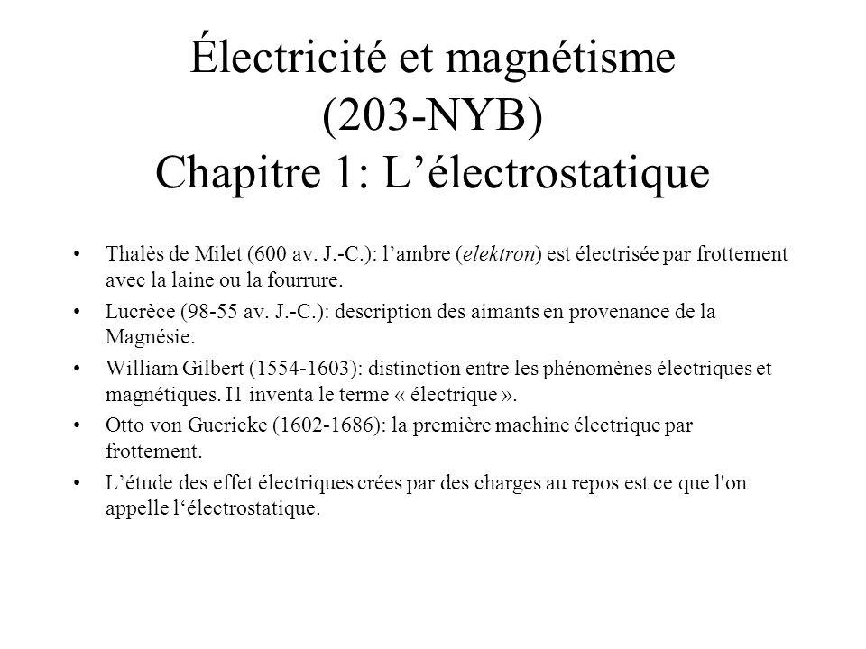 Électricité et magnétisme (203-NYB) Chapitre 1: L'électrostatique Thalès de Milet (600 av. J.-C.): l'ambre (elektron) est électrisée par frottement av
