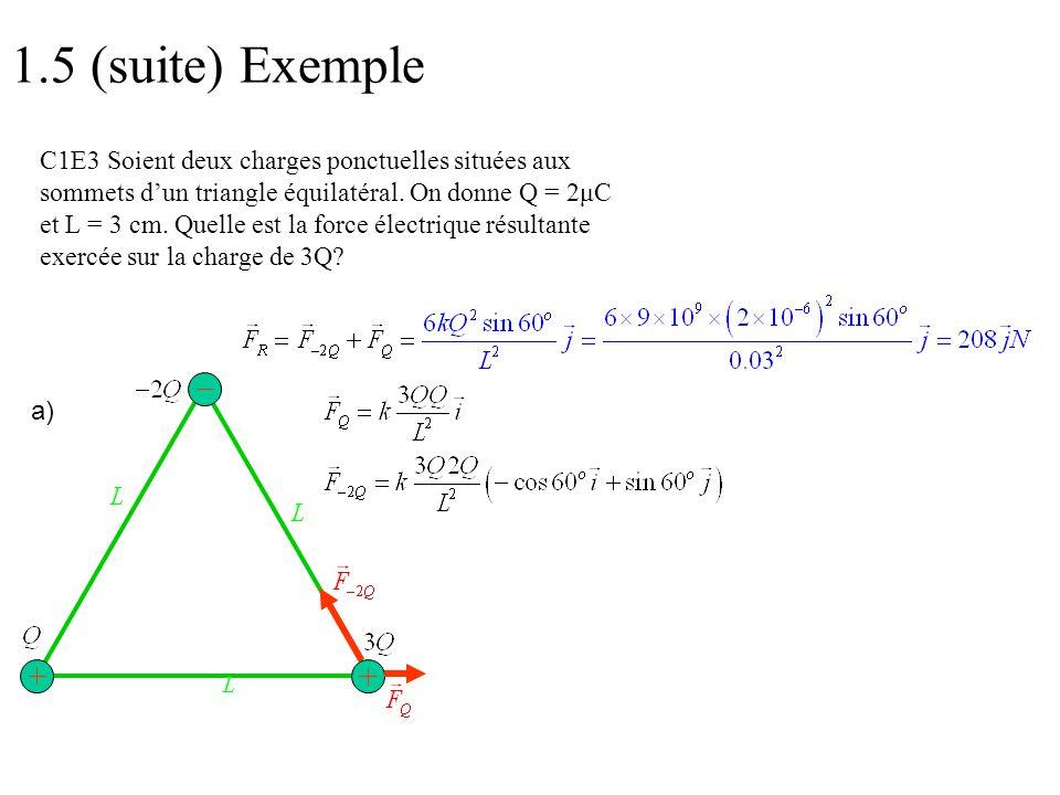a) 1.5 (suite) Exemple C1E3 Soient deux charges ponctuelles situées aux sommets d'un triangle équilatéral. On donne Q = 2μC et L = 3 cm. Quelle est la