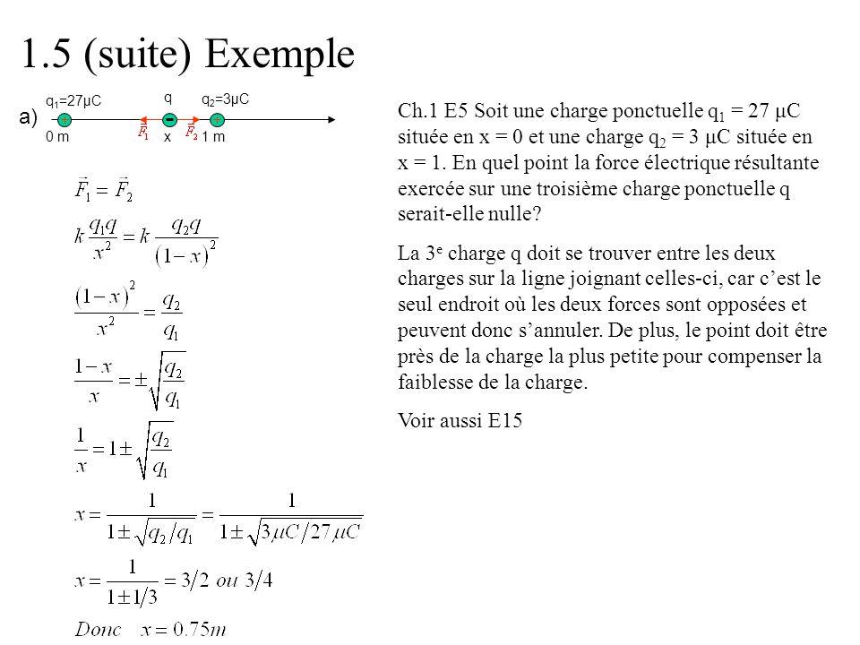 0 m 1 mx q q 1 =27μC q 2 =3μC a) 1.5 (suite) Exemple Ch.1 E5 Soit une charge ponctuelle q 1 = 27 μC située en x = 0 et une charge q 2 = 3 μC située en