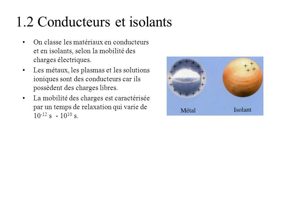 1.2 Conducteurs et isolants On classe les matériaux en conducteurs et en isolants, selon la mobilité des charges électriques. Les métaux, les plasmas