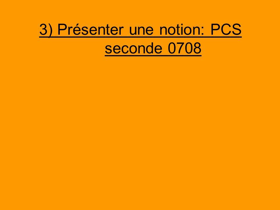 3) Présenter une notion: PCS seconde 0708