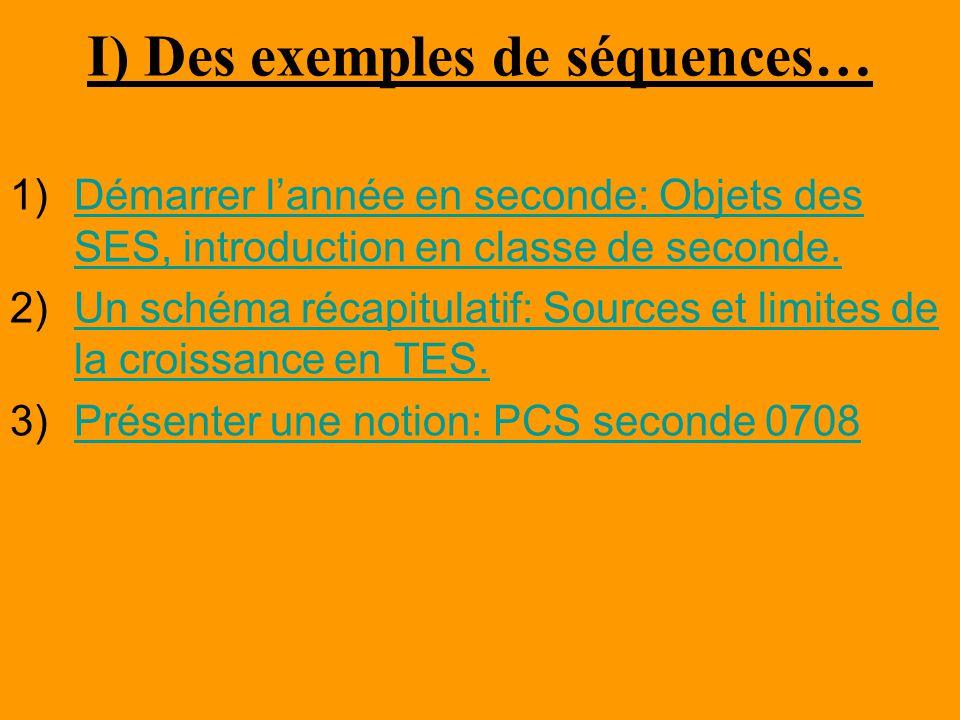 I) Des exemples de séquences… 1)Démarrer l'année en seconde: Objets des SES, introduction en classe de seconde.Démarrer l'année en seconde: Objets des SES, introduction en classe de seconde.