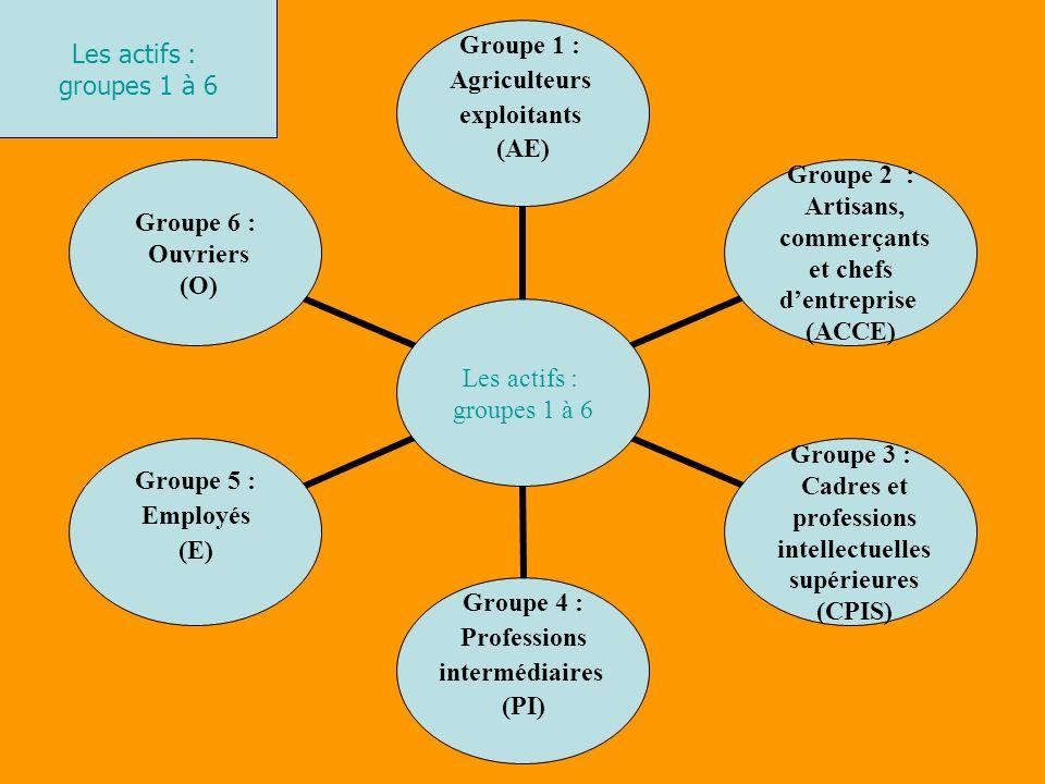 Les actifs : groupes 1 à 6