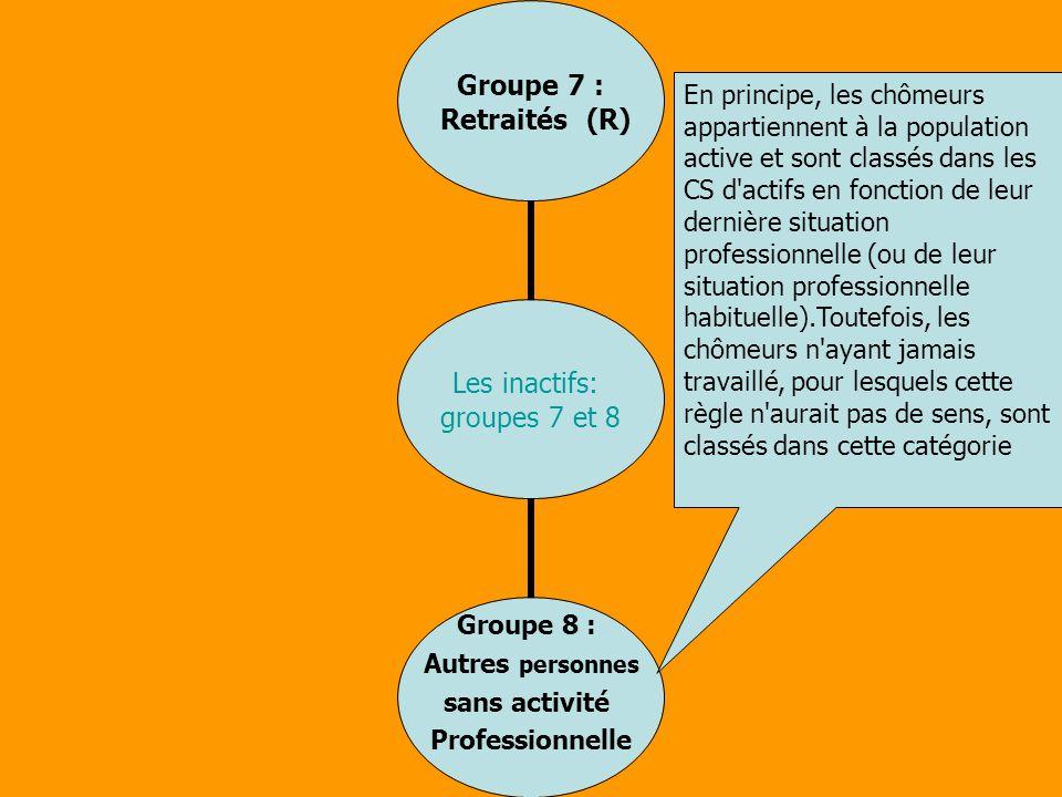 Les inactifs: groupes 7 et 8 Groupe 7 : Retraités (R) Groupe 8 : Autres personnes sans activité Professionnelle En principe, les chômeurs appartiennen