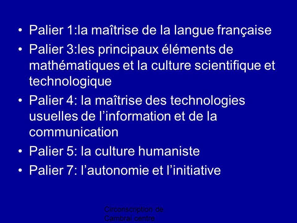 Circonscription de Cambrai centre Palier 1:la maîtrise de la langue française Palier 3:les principaux éléments de mathématiques et la culture scientif